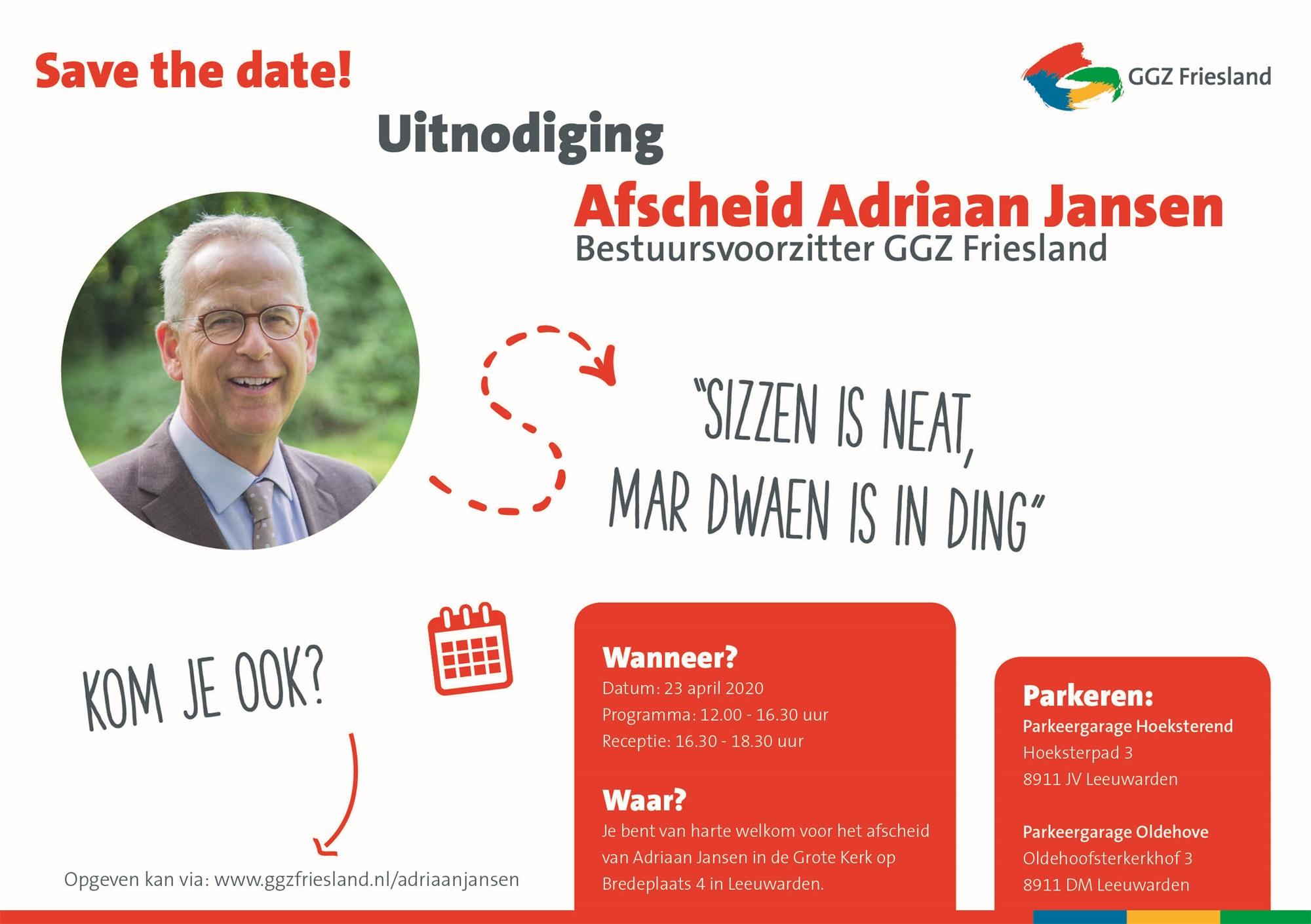 Uitnodiging Adriaan Jansen